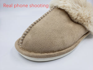 Women Full Fur Slippers Winter Warm Plush
