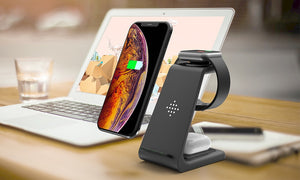 Bonola Qi 3 in 1 Wireless Charging Station For iPhone11Pro/Xr/Xs/AirPods Pro/iWatch5  Wireless Charger For SamsungS10/Buds/Watch