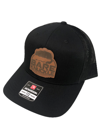 Leather Circle Logo  Snapback Trucker Hat - Black/Caramel