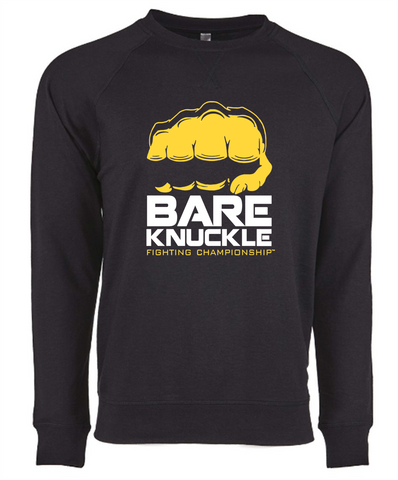 BKFC Logo French Terry Crew Neck Sweatshirt - Black / Yellow