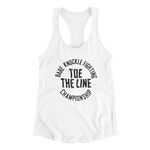 Toe the Line Circle Women's Racerback Tank - White/Black