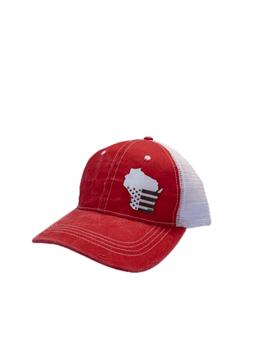 Women's Red and White WI Flag Hat