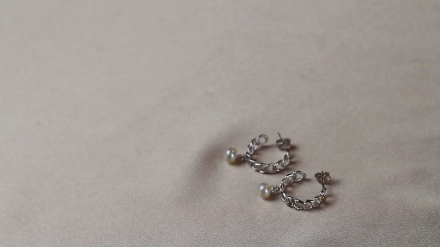 curb hoops pearl earrings sterling silver 925