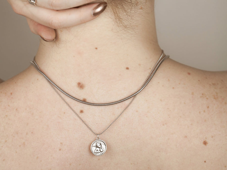 aesthetic silver necklace snake chain 925