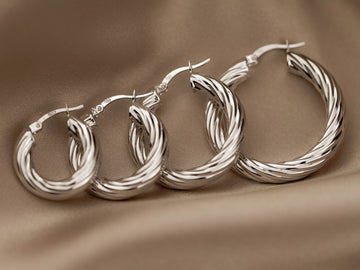 chunky hoops twisted earrings silver 925