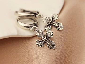 cross drop earrings vintage silver 925