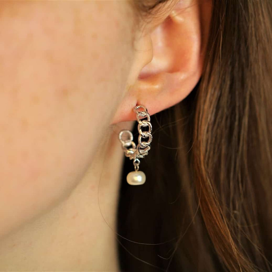 curb hoop earrings pearls