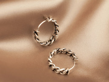 curb chain hoops silver