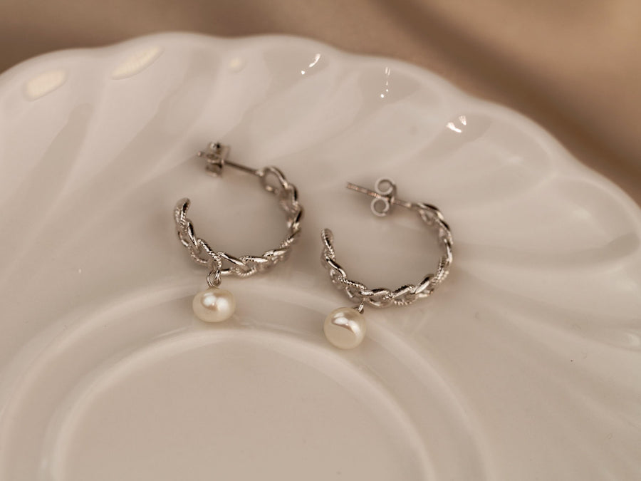 curb hoop earrings with pearls s925