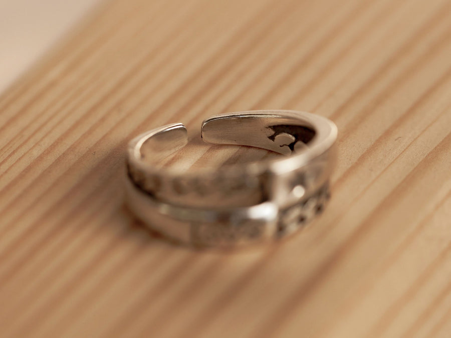double layered silver love ring