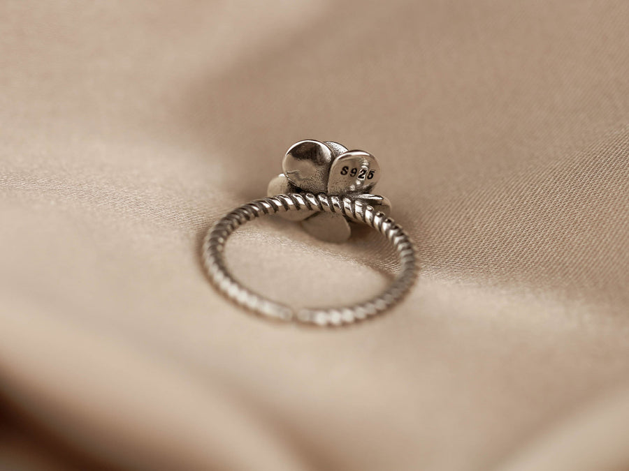 flower rose ring 925 silver