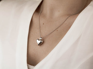 heart pendant bead chain silver necklace