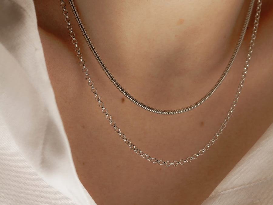 layered silver necklaces belcher chain necklace
