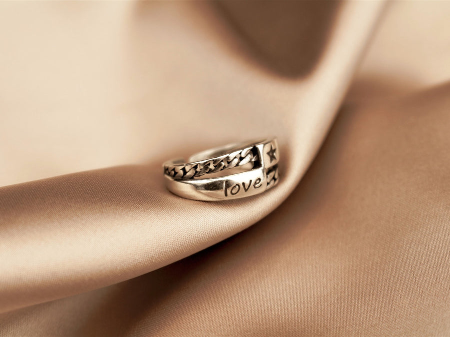 love adjustable ring 925
