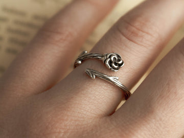 rose thorn silver aesthetic ring