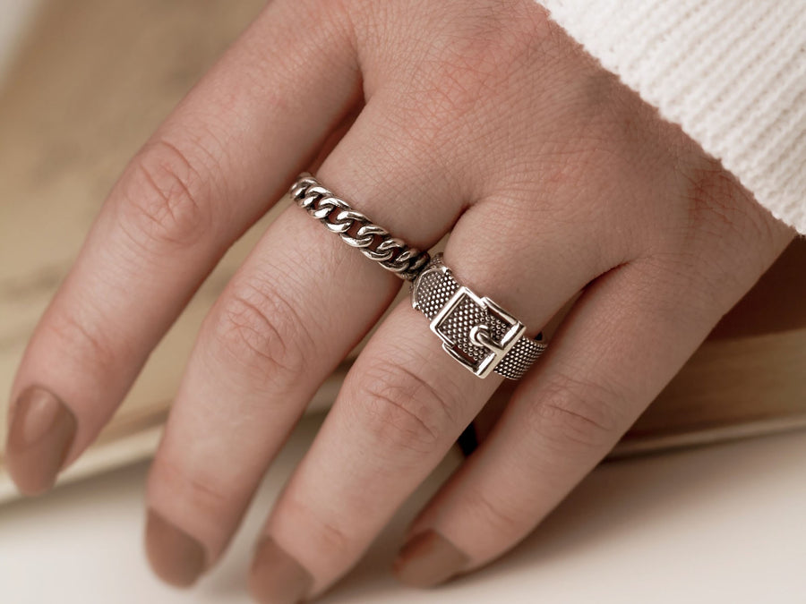 s925 retro vintage belt ring silver