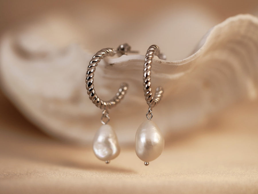 s925 silver hoop earrings with pearls