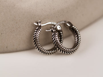 silver 925 black sterling hoop earrings vintage retro