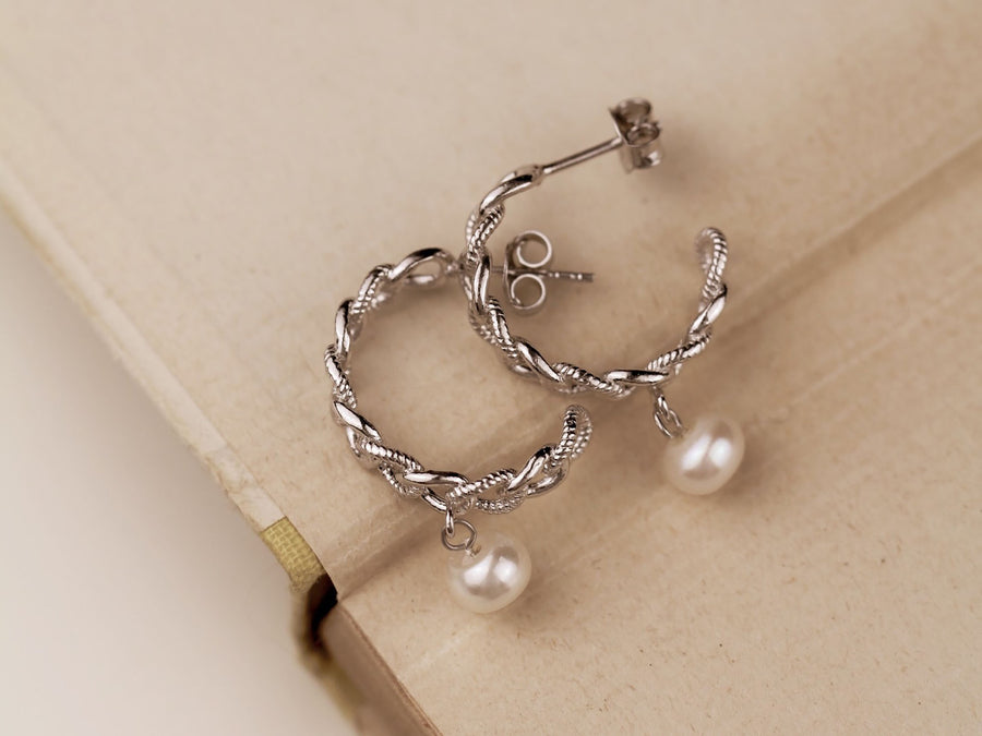 silver 925 hoops curb pearls