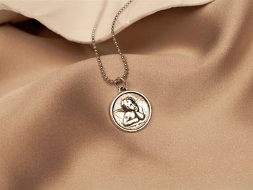 silver 925 sterling guardian angel necklace pendant