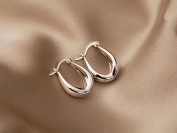 silver 925 sterling oval hoops