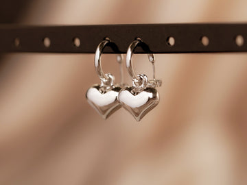 silver heart earrings drop hoops silver 925
