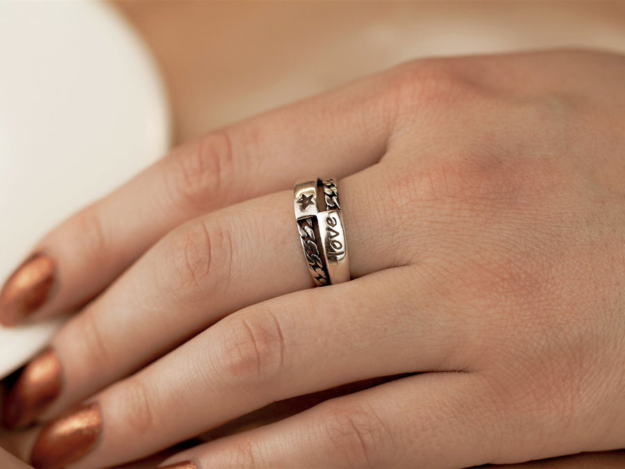 silver ring adjustable love