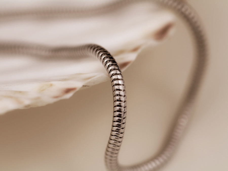 silver snake chain style necklace
