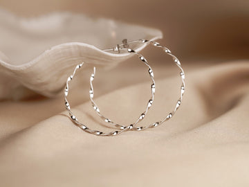 slim twisted hoops large hoop earrings 925 silver