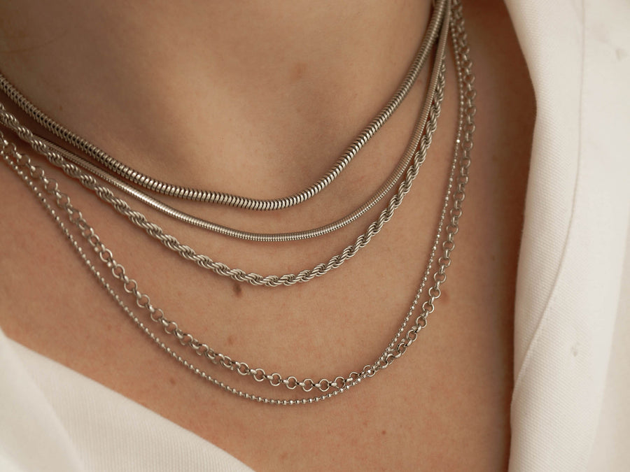 snake chain necklace silver layers 925