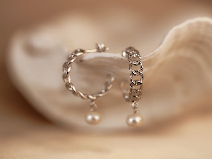 sterling silver 925 hoops curb with pearls