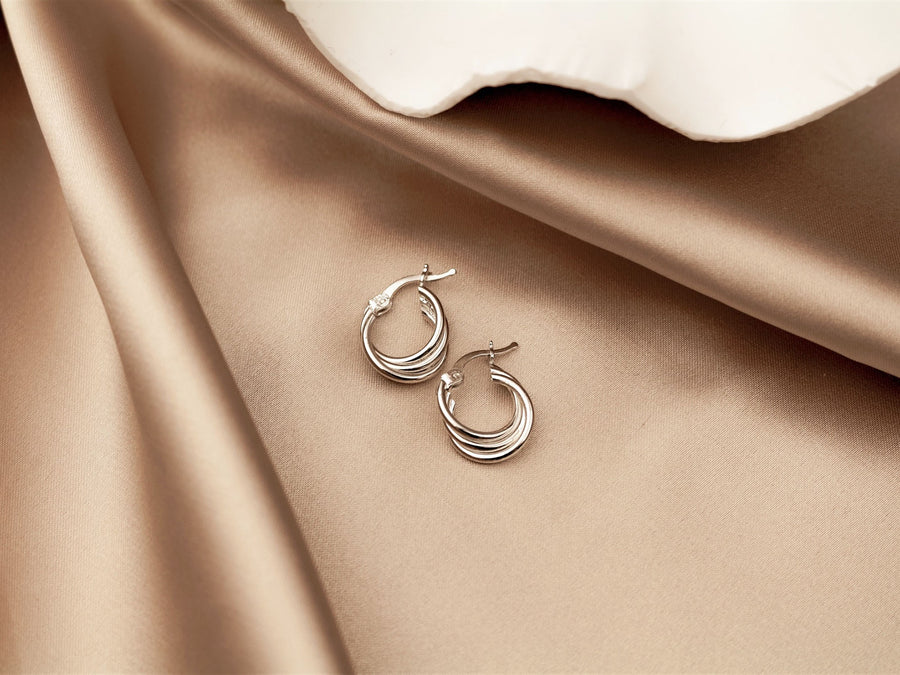 triple hoop earrings 925 silver stoneless minimalist