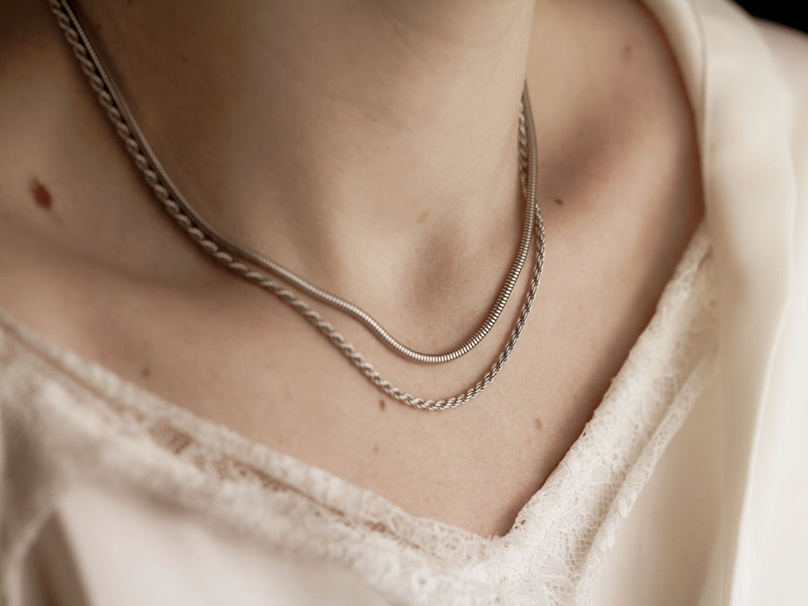 women necklace silver chain layered necklace sterling 925