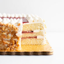 Load image into Gallery viewer, Cake, Honey Almond with Strawberry Rhubarb Jam
