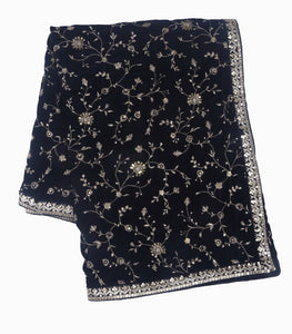 Navy Blue Embroidered Dupatta With Sequins & Threadwork