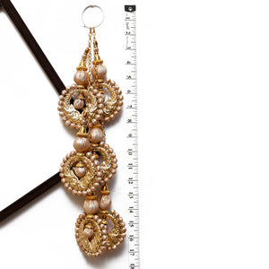 Rose Gold Disc Shaped Latkan With Bulbs (Set Of 2)