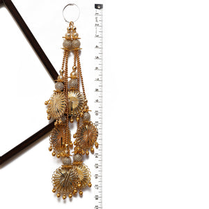 Gold Gota Disc Shaped Latkan With Beads (Set Of 2)