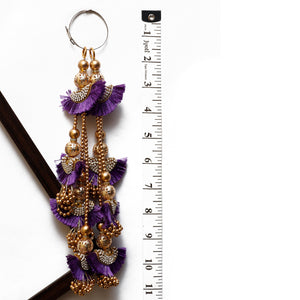 Purple Half-moon Shaped Latkan With Stone & Pearl (Set Of 2)