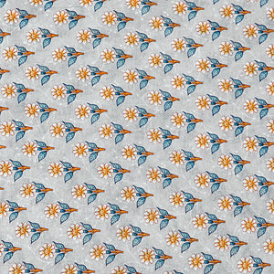 Grey Cotton Silk Fabric With Digital Print