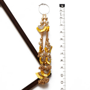 Yellow Half-moon Shaped Latkan With Stone & Pearl (Set Of 2)