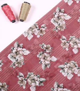 Rouge Embroidered Floral Printed Georgette Fabric With Sequins