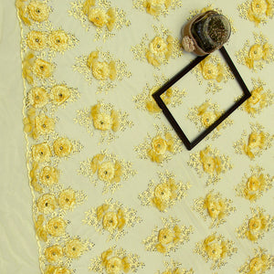 Yellow Imported Embroidered Net Fabric With 3D Applique & Stone Handwork