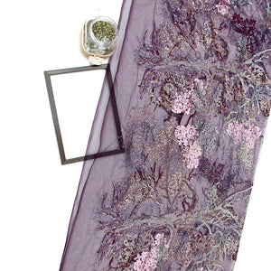 Purple Imported Embroidered Net Fabric With Sequin, Foil & Threadwork