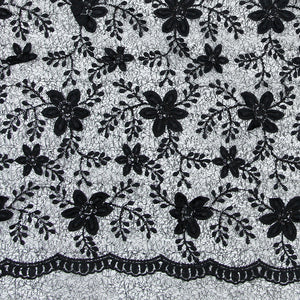 Black Imported Embroidered Lace Net Fabric With 3D Applique, Sequin & Threadwork