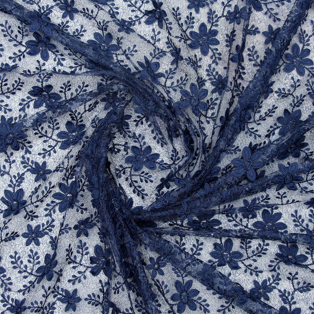 Indigo Imported Embroidered Lace Net Fabric With 3D Applique, Sequin & Threadwork