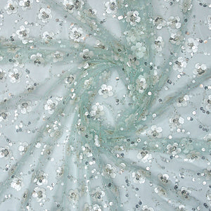 Mint Green Imported Embroidered Net Fabric With Sequin, Pearl & Bead Handwork