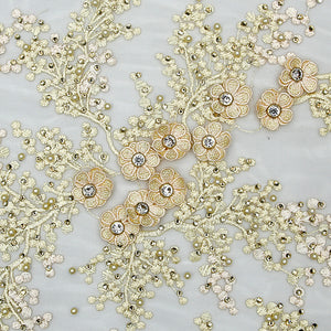 Lemon Yellow Imported Embroidered Net Fabric With 3D Applique, Stone & Bead Handwork & Threadwork