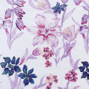 Lavender Imported Embroidered Net Fabric With Sequin & Threadwork