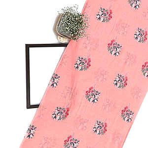 Peach Cotton Silk Fabric With Digital Print