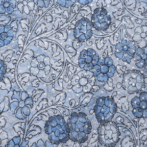 Powder Blue Digital Print Georgette Fabric With Sequin & Thread-work